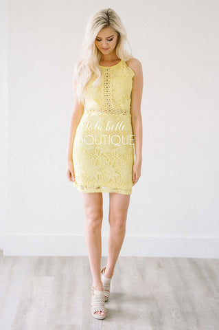 See Me Now Bright Yellow Lace Dress