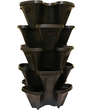 Large 5 Tier Vertical Garden Tower - 5 Black Stackable Indoor / Outdoor Hydroponic and Aquaponic Planters - EarthCitizen  - 1