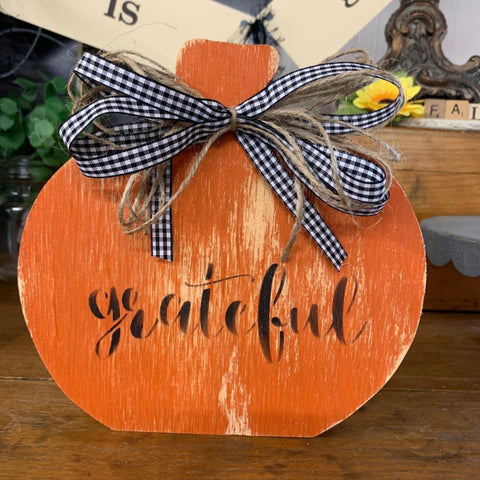 Grateful Pumpkin Sign with Black & White Gingham Bow, Reversible
