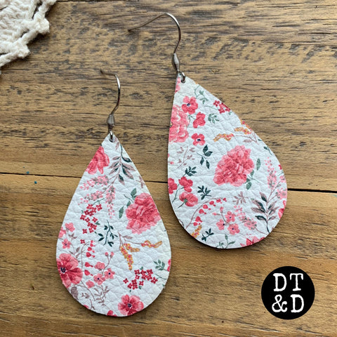 Pink Floral Leather Earrings