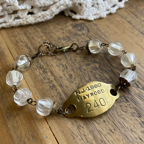 1960 Maywood, New Jersey Vintage Dog Tag Bracelet - #240
