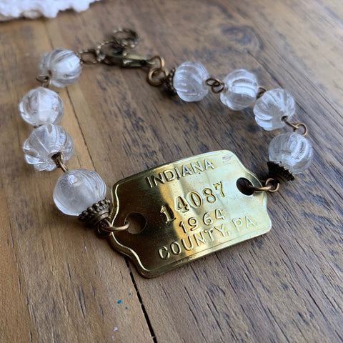 1964 Indiana County PA Vintage Dog Tag Bracelet