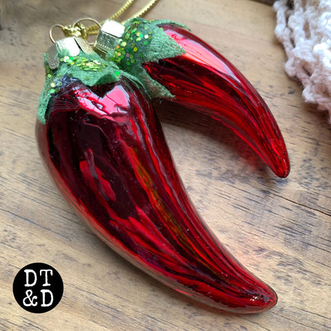 Glass Chili Pepper Christmas Ornament