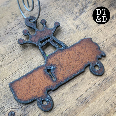 Rustic Metal Pickup Truck Christmas Ornament, with Crown