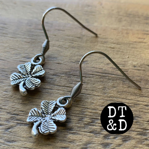 Silver Four-Leaf Clover Earrings, 2 Styles