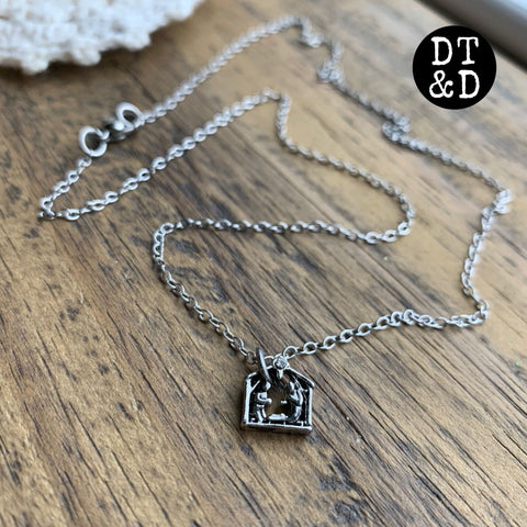 Tiny Silver Christmas Nativity Necklace ~ LIMITED EDITION