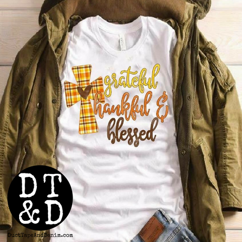Grateful Thankful Blessed Fall T-Shirt with Plaid Cross