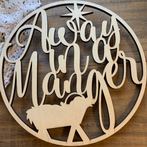 AWAY IN A MANGER Round Wooden Cutout for Christmas Crafting (1)