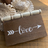 LOVE Shelf Sitter Sign on Repurposed Wood