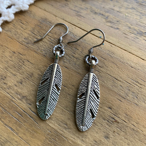 Simple Silver Feather Earrings