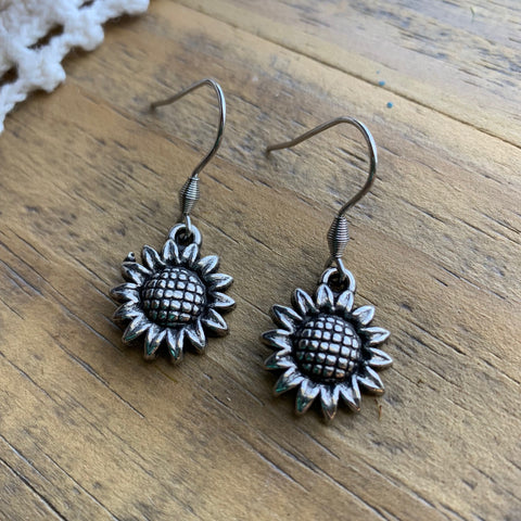 Silver Sunflower Dangle Earrings