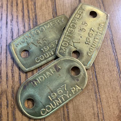 Vintage Brass Dog Tags (1)