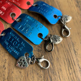 Vintage Red and Blue Aluminum Dog Tag Bracelet