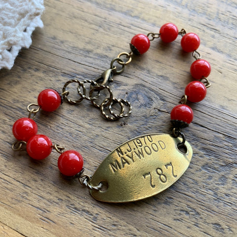 1970 Maywood New Jersey Vintage Brass Dog Tag Bracelet #787