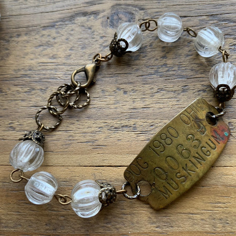1980 Muskingum Ohio Vintage Brass Dog Tag Bracelet #00639