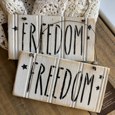 White Beadboard Patriotic Word Signs - FREEDOM, AMERICA