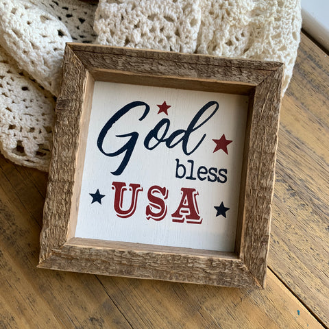 God Bless USA Sign, Mini