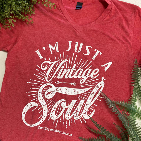 I'm Just a Vintage Soul V-Neck T-Shirt - Heather Red