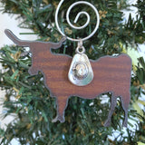 Longhorn Christmas Ornament, Rustic Metal, Small 2""