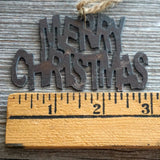 "Rustic Merry Christmas Ornament, 3"" Inch Metal"