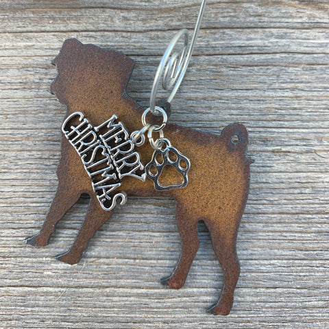 Pug Christmas Ornament, Rustic Metal Dog Ornament