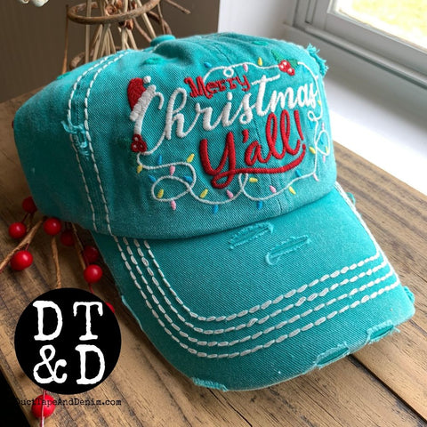 Merry Christmas Y'all Baseball Cap - Turquoise