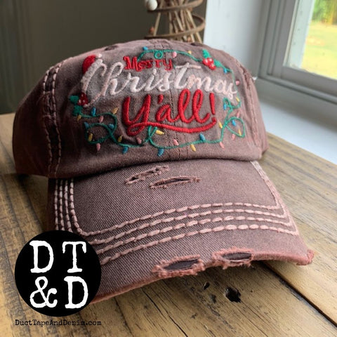 Merry Christmas Y'all Baseball Cap - Brown