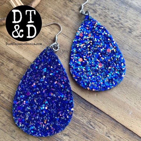 Blue Glitter Teardrop Earrings