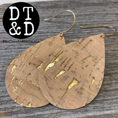 Cork Earrings with Gold Flecks