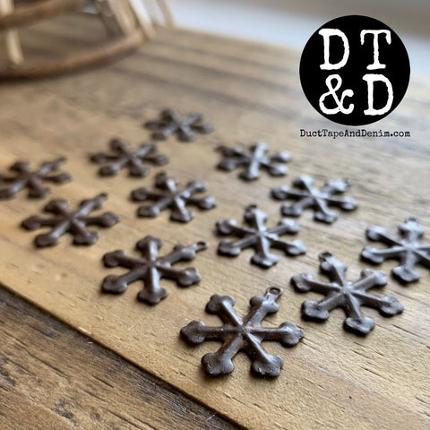 "Rustic Snowflakes, Small (12) .75"" In"