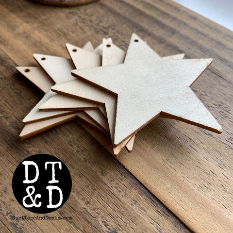 "Wood Star Ornament (1) - 3"" Inch"