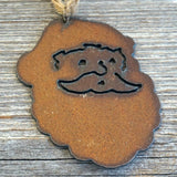 "Rustic Santa Christmas Ornament, 3"" Inch Metal"