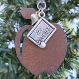 #1 Teacher Christmas Ornament, Rustic Metal Apple, Small 2""