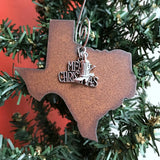 Texas Christmas Ornament, Rustic Western Metal, Medium 3""