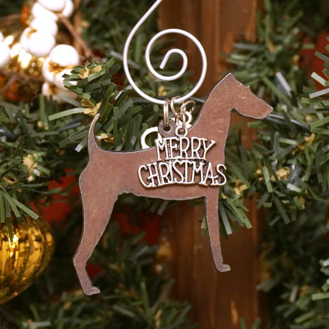 Airedale Christmas Ornament, Rustic Metal Dog Ornament