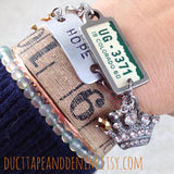 1956 Virginia Bracelet, Repurposed License Plate Tag Jewelry