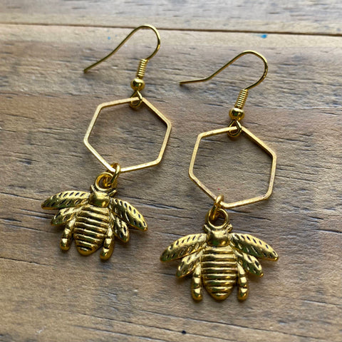 Gold Hexagon and Bee Earrings