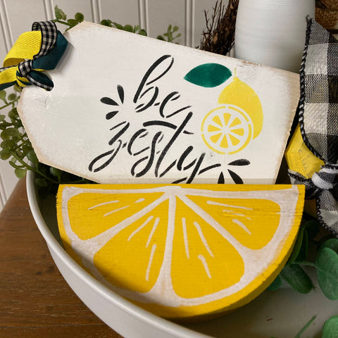 Be Zesty Lemon Decor Tag, Wooden Mini Sign
