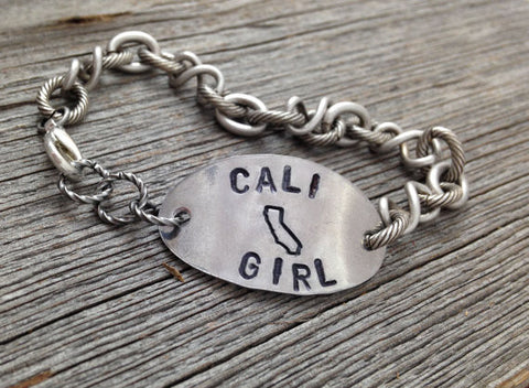 CALI Girl Hand Stamped California Bracelet