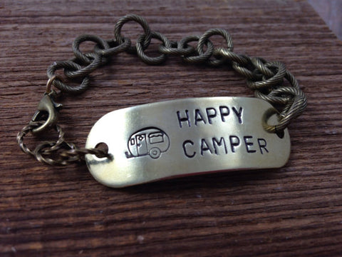 Happy Camper Bracelet, Hand Stamped on Antiqued Brass Chain