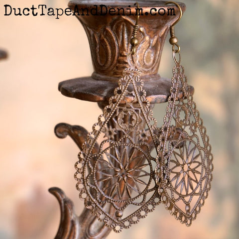 Boho Earrings, Antiqued Brass Filigree