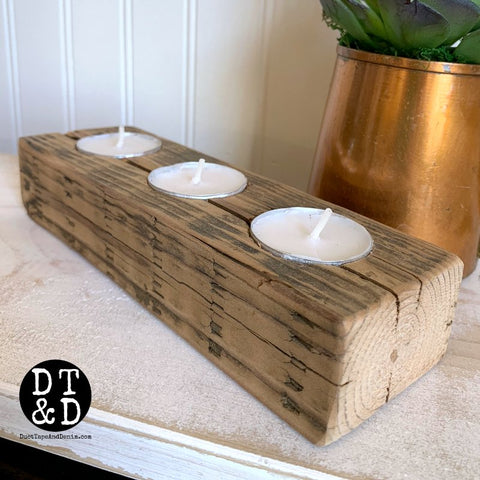 Barn Wood Candle Holder - 3 Votives