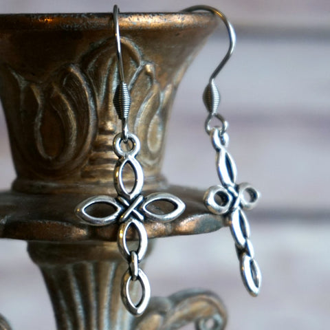 Silver Open Cross Earrings