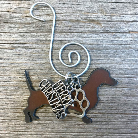 Dachshund Christmas Ornament, Rustic Metal Dog Ornament