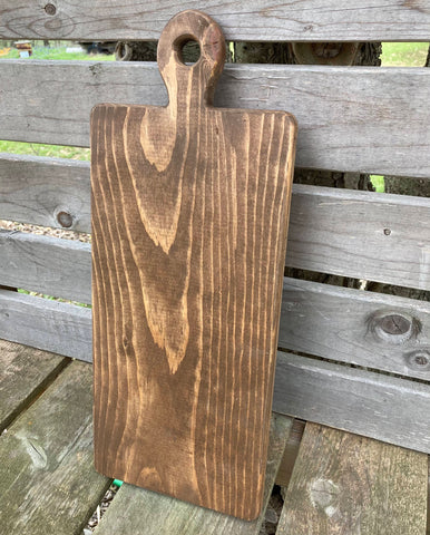 "Tall Cutting Board, Stained Wood, Large, 18"" Inches"