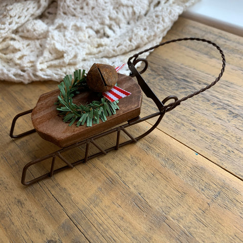 "Wood and Metal Sled Christmas Ornament - 4"" (1)"