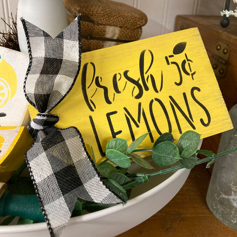 Fresh Lemons Tag, Wooden Mini Sign