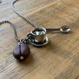 Coffee Bean Necklace with Heart in Cup, Adjustable