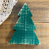 Mini Green Wood Christmas Tree for Holiday Tiered Tray Decor