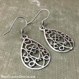 Filigree Antiqued Silver Teardrop Earrings